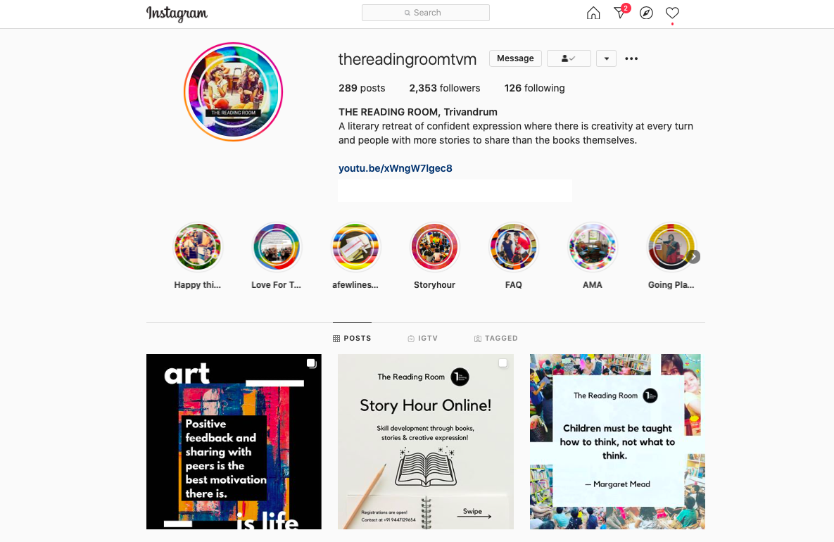 The Reading Room Trivandrum Instagram Page June 2020